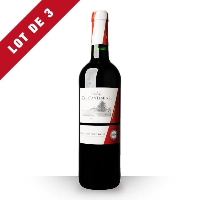 3X Château Cru Cantemerle Grande Réserve 2011 Rouge 75cl AOC Bordeaux Supérieur - Vin Rouge