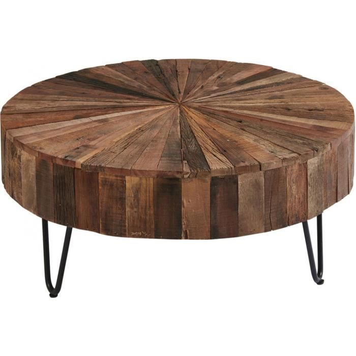 Table basse ronde plateau bois 38 Naturel