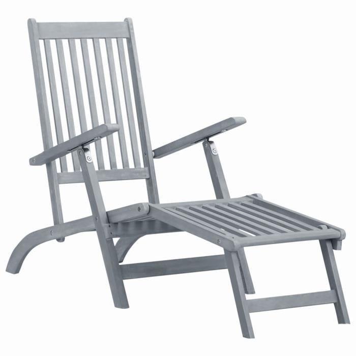 Chaise longue bain de soleil extérieur Fauteuil Relax transat lit d'extérieur avec repose-pied Délavage gris Acacia