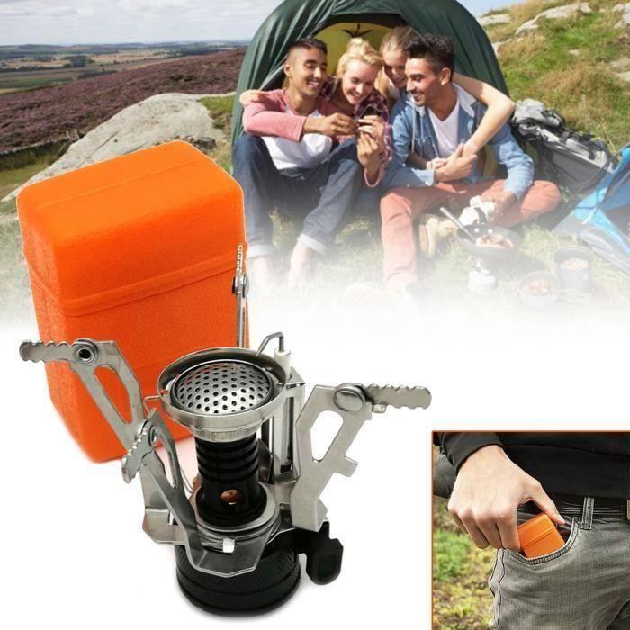 Camping Stove Réchaud Brûleur Portable Pour Randonnée En Plein Air NOIR Me24466