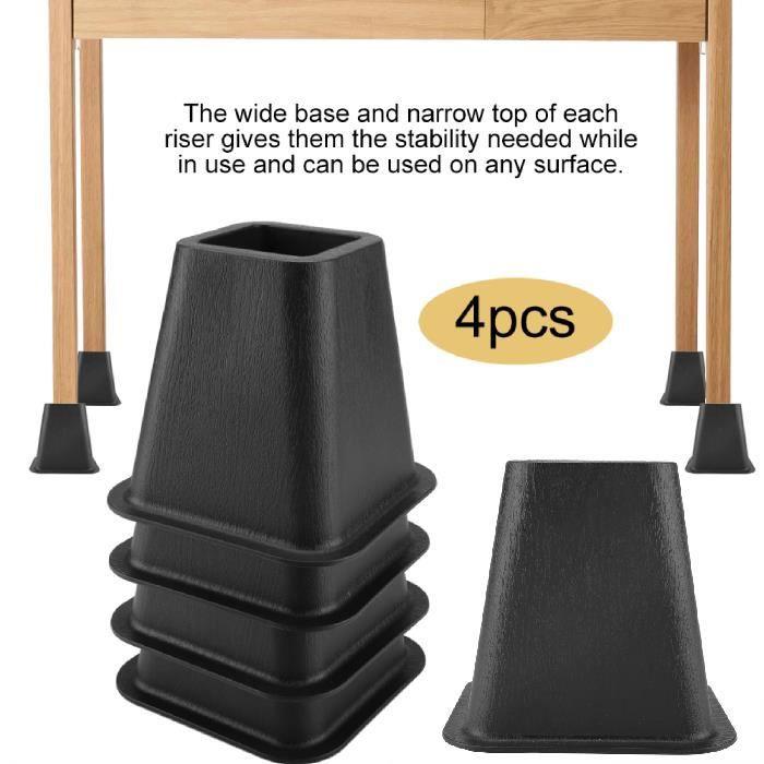 Lot de 4 rehausseurs de lit ou de meuble Pied Rehausseur de Meuble noir*4 HB008