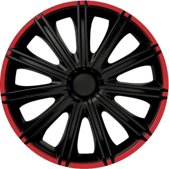 AutoStyle moyeux Nero 15 pouces ABS noir / rouge lot de 4