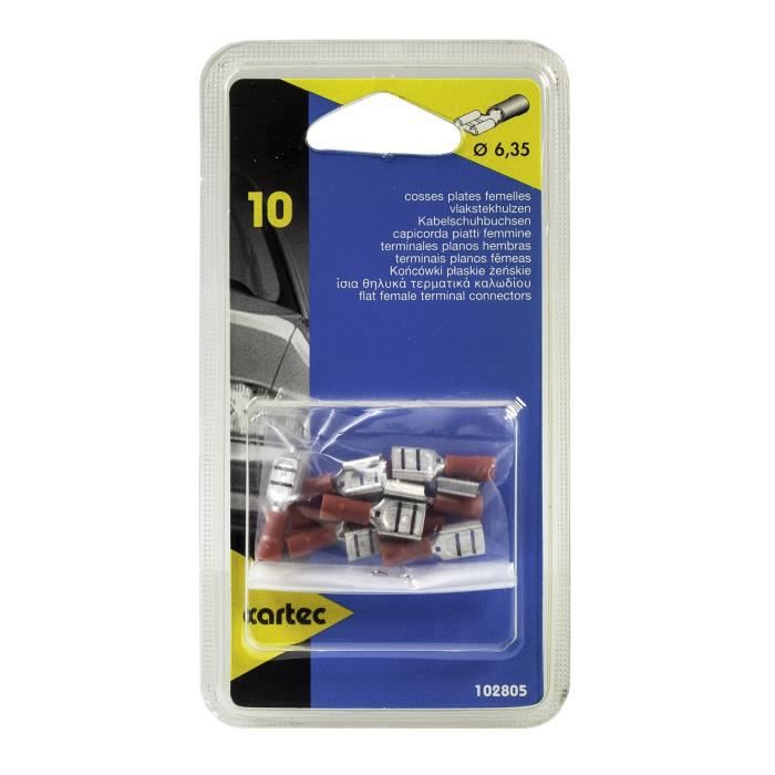 CARTEC 10 cosses plate/femelle/rouge