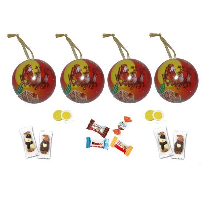 Lot de 4 boules de Noël garnies de 25 chocolats KINDER...