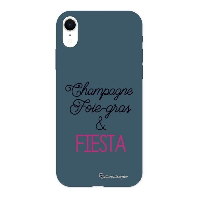 Coque iPhone Xr Silicone Liquide Douce bleu nuit Champagne Foie gras et Fiesta Ecriture Tendance et Design La Coque Francaise.