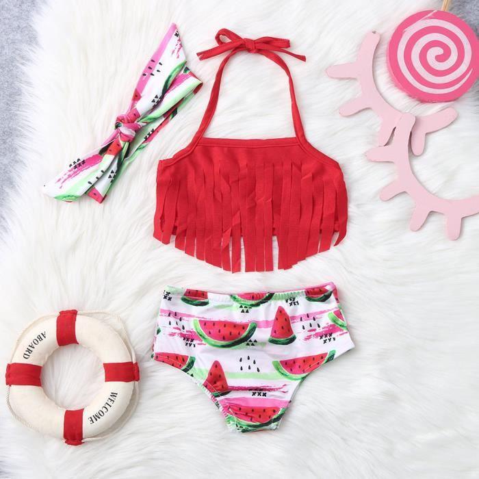 MAILLOT DE BAIN DE NATATION Enfants bébé filles gland imprimé pastèque maillots de bain d'été maillot de bain bikini tenues