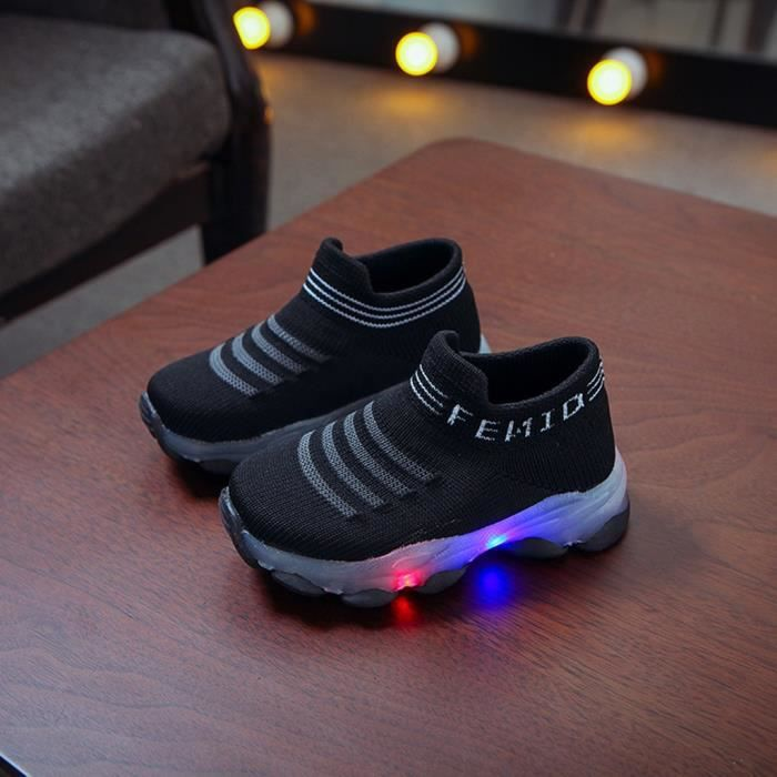 Enfants bébé filles garçons lettre maille Led chaussettes lumineuses Sport course baskets chaussures décontractées Noir