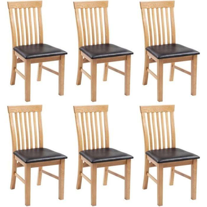 Lot de 6 Chaises à dîner Bois de chêne massif et similicuir Design Moderne
