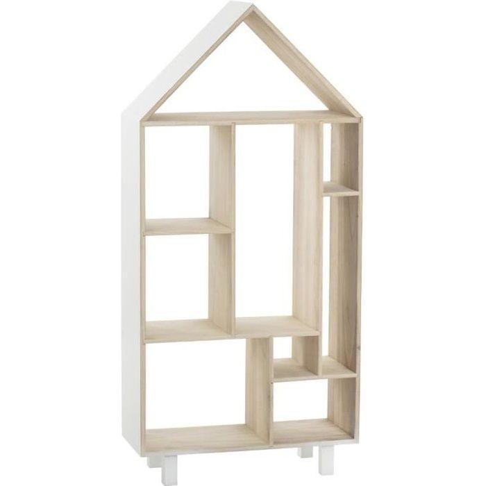 Étagère enfant sur pieds forme maison en bois - L.50 x l.20 x H.105 cm