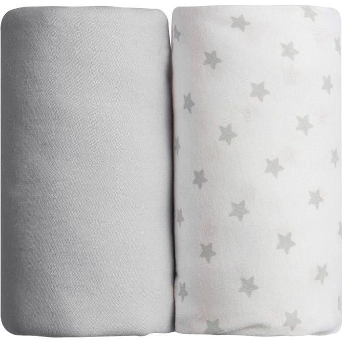 BABYCALIN Lot de 2 draps housse Jersey coton - Impression étoile grise et gris uni - 70 x 140 cm