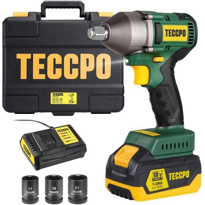 TECCPO Clé à Choc Sans Fil Brushless 4.0Ah Batterie, 3 Réglages de Vitesse, 3 Douilles 17/19/21mm, 350Nm, 20V - BHD850B