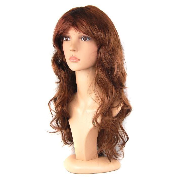 Perruque brune femme TRIXES à cheveux longs brune bouclés pour soirées, évènements ou déguisement