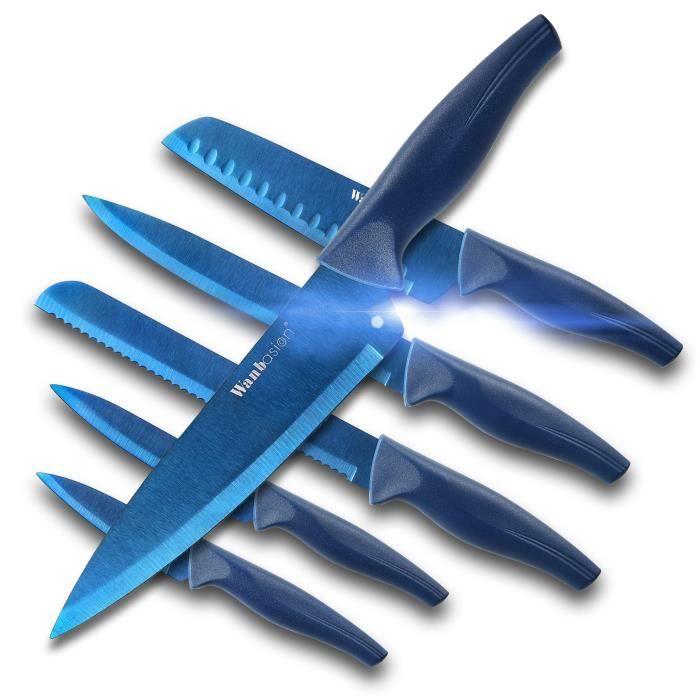 Wanbasion 6PCS Couteaux Professionnel Ensemble de Couteaux de Cuisine Chef, Jeu de Couteaux en Acier Inoxydable bleu