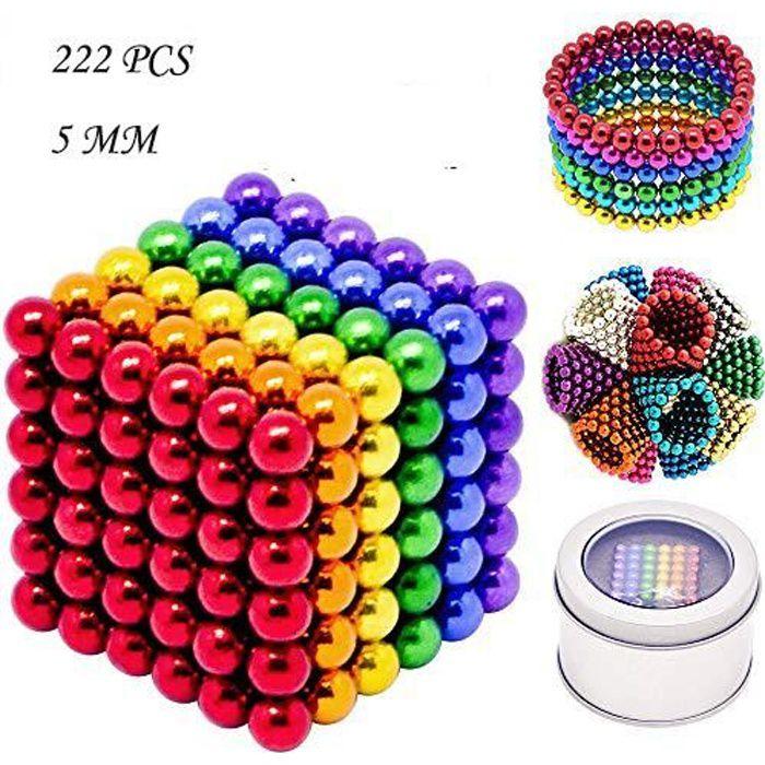 YOLISTAR Cube magnétique magique Buckyballs 222 billes 5mm 6 couleurs avec boîte en métal