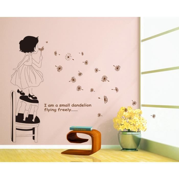 Petite fille et pissenlit volant stickers muraux amovibles for Decoration murale one piece