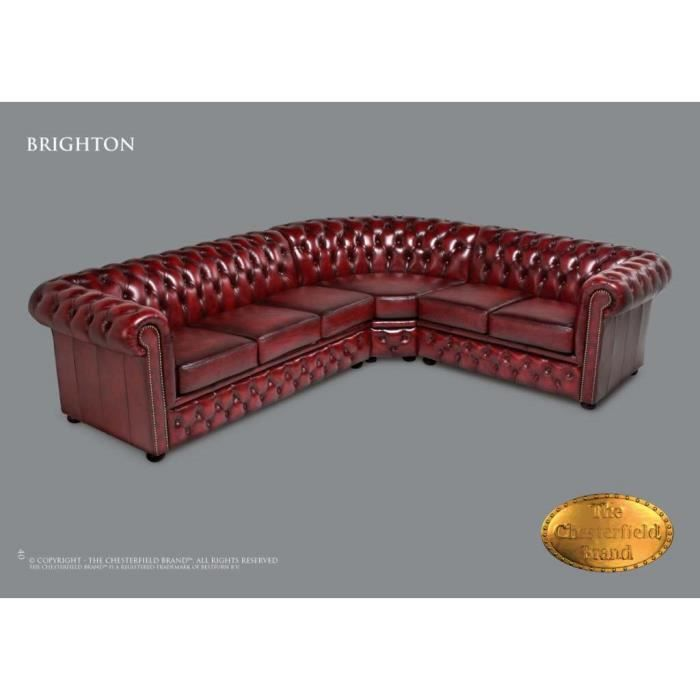 canap d 39 angle chesterfield antique rouge achat vente canap sofa divan cdiscount. Black Bedroom Furniture Sets. Home Design Ideas
