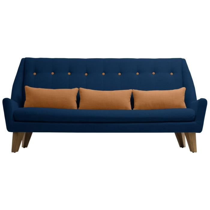 canap scandinave 3 places gipsy bleu capitonn achat vente canap sofa divan cdiscount. Black Bedroom Furniture Sets. Home Design Ideas