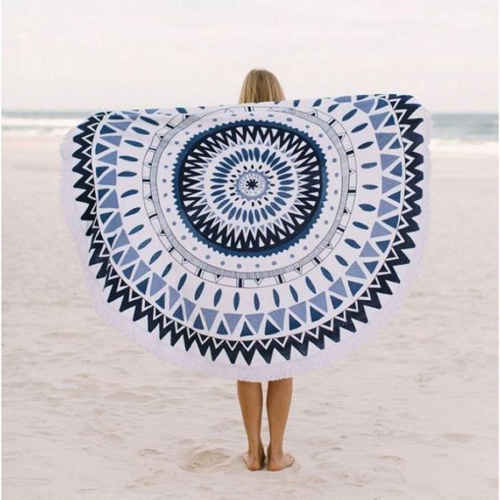 SERVIETTE DE PLAGE Coton Velour réactive plage imprimée serviette ron