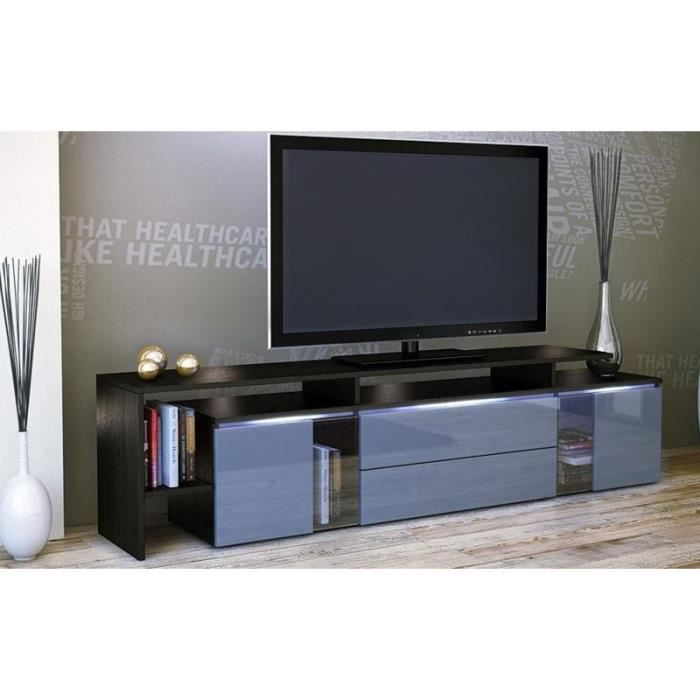 meuble tv design laqu noir et gris non non achat vente meuble tv meuble tv design laqu. Black Bedroom Furniture Sets. Home Design Ideas