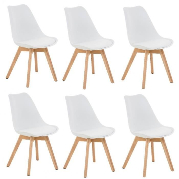 lot de 6 chaises de salle manger scandinave pu blanc pieds bois cds10201 achat vente. Black Bedroom Furniture Sets. Home Design Ideas