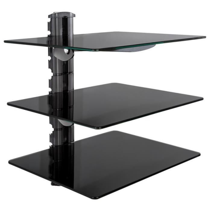 tag re support mural pour dvd console 3 tablettes verre de s curit noir 2008405 achat. Black Bedroom Furniture Sets. Home Design Ideas