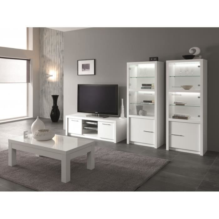 ensemble 3 l ments fano laqu blanc meuble t l 150 cm deux vitrines table basse. Black Bedroom Furniture Sets. Home Design Ideas