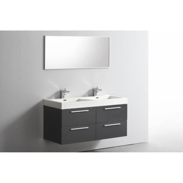 meuble double vasques 1 miroir esperra gris achat vente salle de bain complete meuble. Black Bedroom Furniture Sets. Home Design Ideas