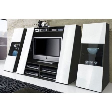 Meuble tv design black and white colonnes achat vente meuble tv meuble - Meuble tv design discount ...