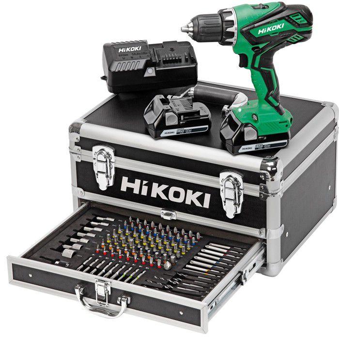 HIKOKI Pack perceuse visseuse 18V 2x2.5Ah et coffret de 100 accessoires - KC18DJLFZ