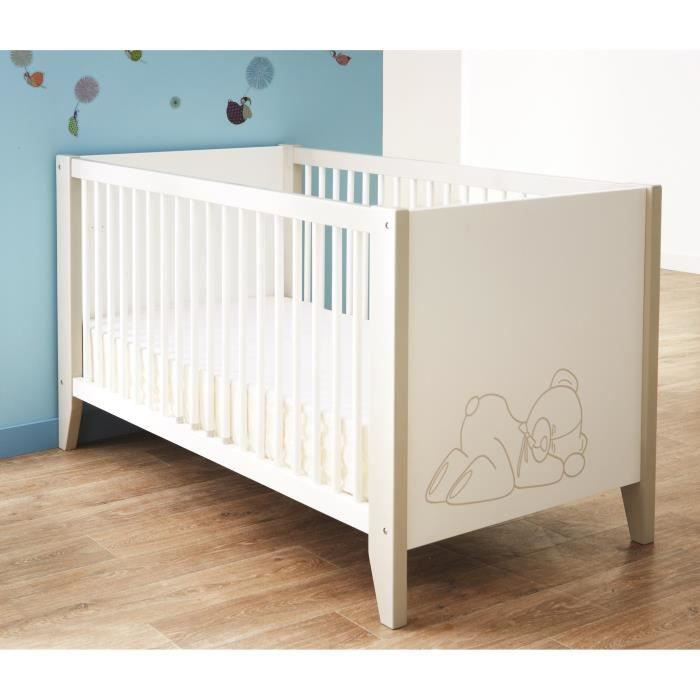 ourson lit b b 70x140 cm blanc et taupe achat vente. Black Bedroom Furniture Sets. Home Design Ideas