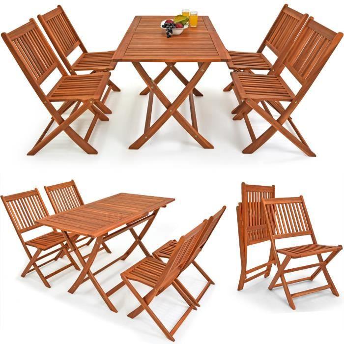Deuba | Ensemble de Jardin 4+1 • en Bois d\'acacia • Sydney Light • 1 table  et 4 chaises pliables | Salon de Jardin, Balcon, terrasse