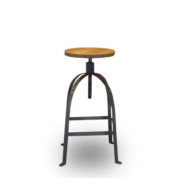 tabouret de bar vintage vis henri ford couleur bois massif achat vente tabouret de bar. Black Bedroom Furniture Sets. Home Design Ideas