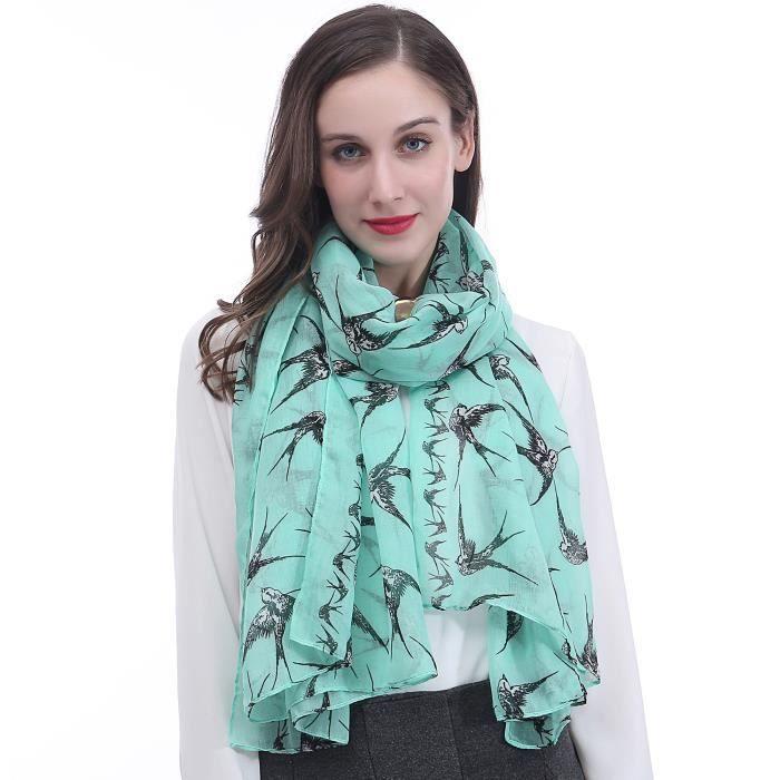Oiseaux Foulard Soie Satin Femme imprimé Fashion Designer jaune bleu blanc
