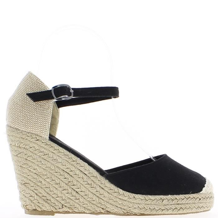espadrilles compens es noires et noir achat vente espadrille cdiscount. Black Bedroom Furniture Sets. Home Design Ideas