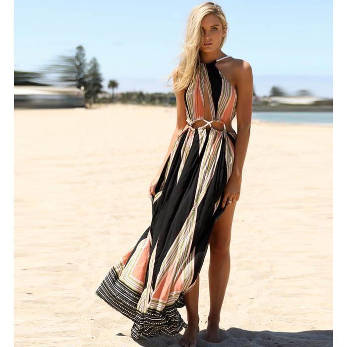 Maxi Robe-tunique-caftan de plage longue