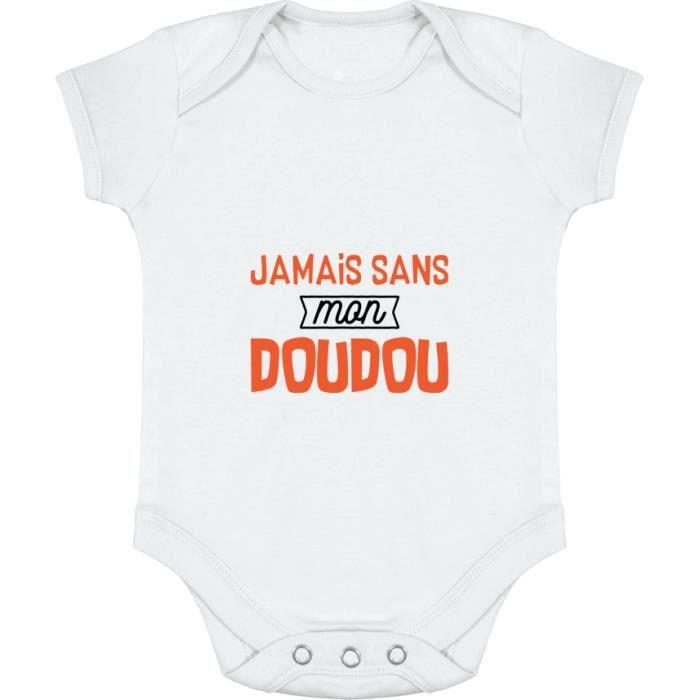 Body bébé | Cadeau imprimé en France | 100% coton | Jamais sans mon doudou  White - Achat / Vente body - Soldes sur Cdiscount dès le 20 janvier !  Cdiscount