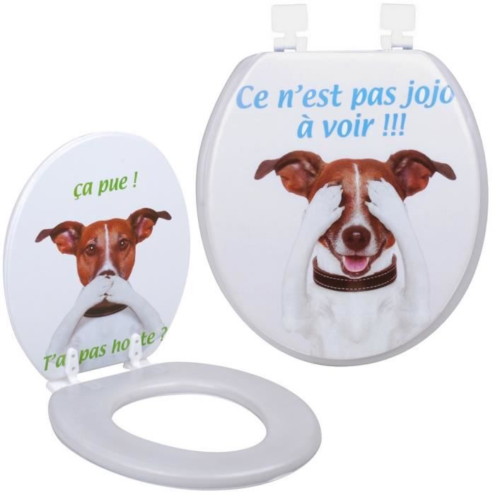 abattant de toilettes wc design humour fun chien c 39 est pas jojo honte achat vente abattant. Black Bedroom Furniture Sets. Home Design Ideas