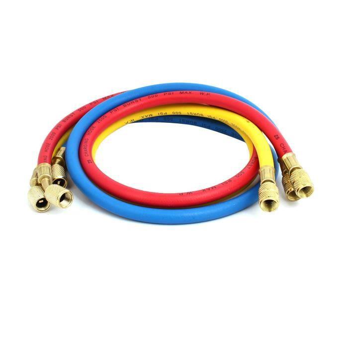 2pcs 0.9M 1//4NPT /à M12 flexible charge r/éfrig/ération pour AC r/éfrig/érant R22 R134