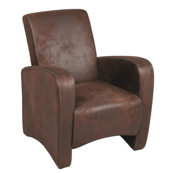 fauteuil club switsofa church microfibre marron achat vente fauteuil marron cdiscount. Black Bedroom Furniture Sets. Home Design Ideas