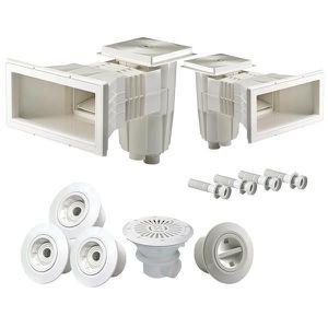 BONDE - BUSE - SKIMMER  Kit pièces à sceller - Piscine béton 8x4m à 10x5m