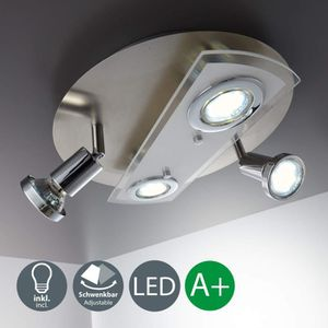 PLAFONNIER B.K. Licht plafonnier 4 spots LED, 2 spots fixes,