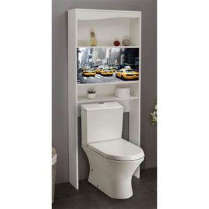 ARMOIRE DE TOILETTE Meuble WC NewYork en bois avec 2 portes coulissant