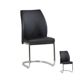 CHAISE Duo de chaises Simili cuir Noir - ARENDAL - L 46 x