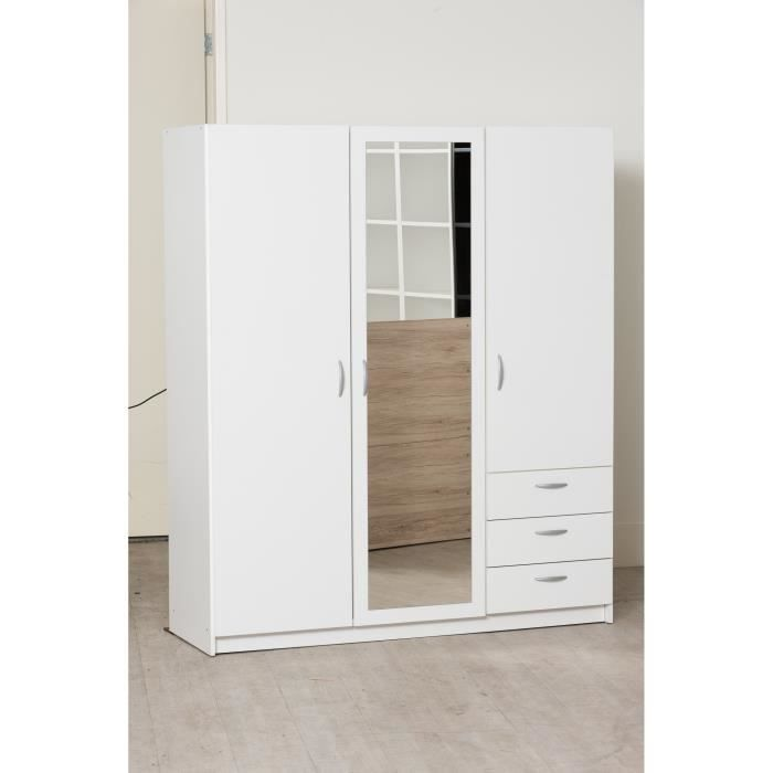 armoire 3 portes blanche achat vente armoire 3 portes blanche pas cher cdiscount. Black Bedroom Furniture Sets. Home Design Ideas