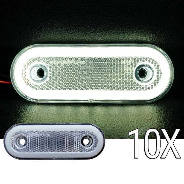 Lot de 10 Feux De Position Avant 12-24V 110/44mm Neon Led Blanc Feux Perimetrals