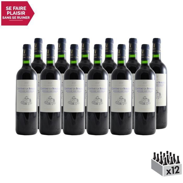 Château La Bergère Rouge 2016 - Lot de 12x75cl - Appellation AOC Montagne-Saint-Emilion - Vin Rouge de Bordeaux - Cépages Cabernet