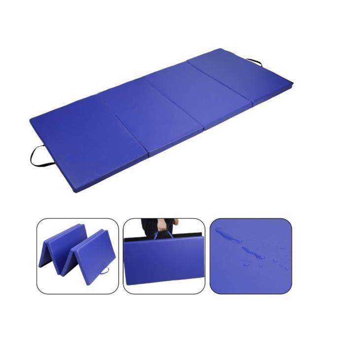 JEOBEST® Tapis de Gymnastique Pliable 240 x 120 x 5 cm Matelas de Fitness Portable Natte de Gym, Bleu Foncé