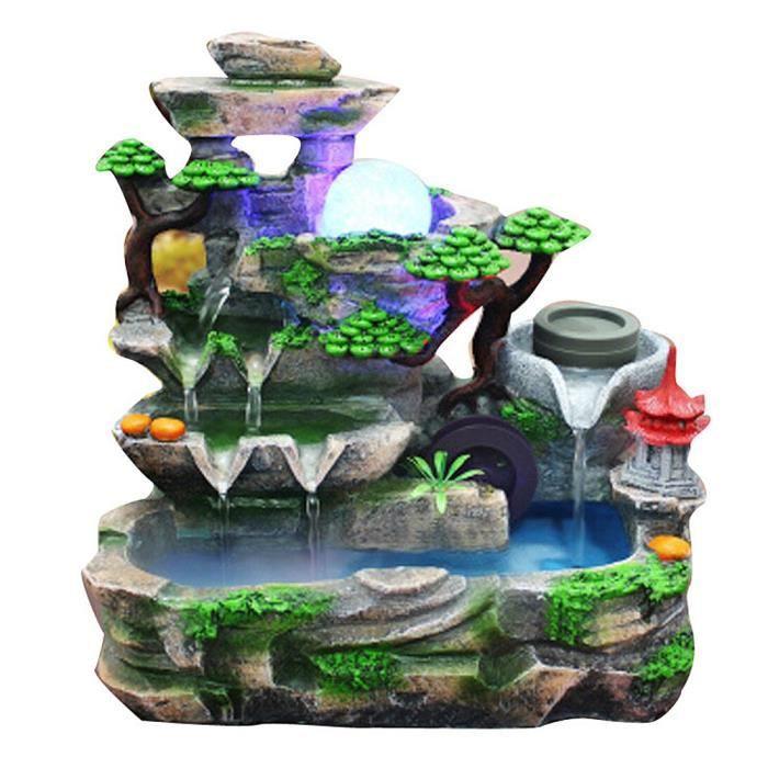 Ornement de décoration de paysage de fontaine d'eau résine unique avec l'effet d'atomisation (UE 220V)-MEN