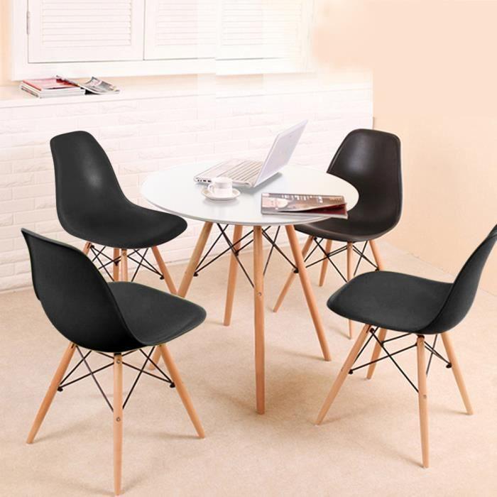 TONGJAA 1 Table de Salle à Manger Ronde Blanc + 4 Chaises Noir Style Scandinave Table Basse Eiffel Grande Capacité de Charge