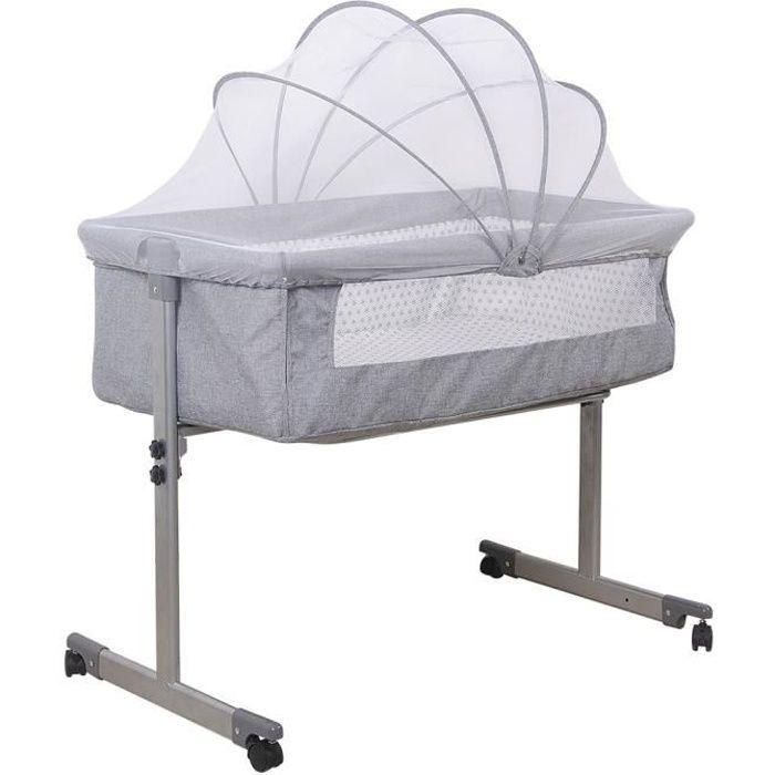 MIXMEST - Portable Berceau Cododo Lit bébé Avec moustiquaire et rouleau - Gris.
